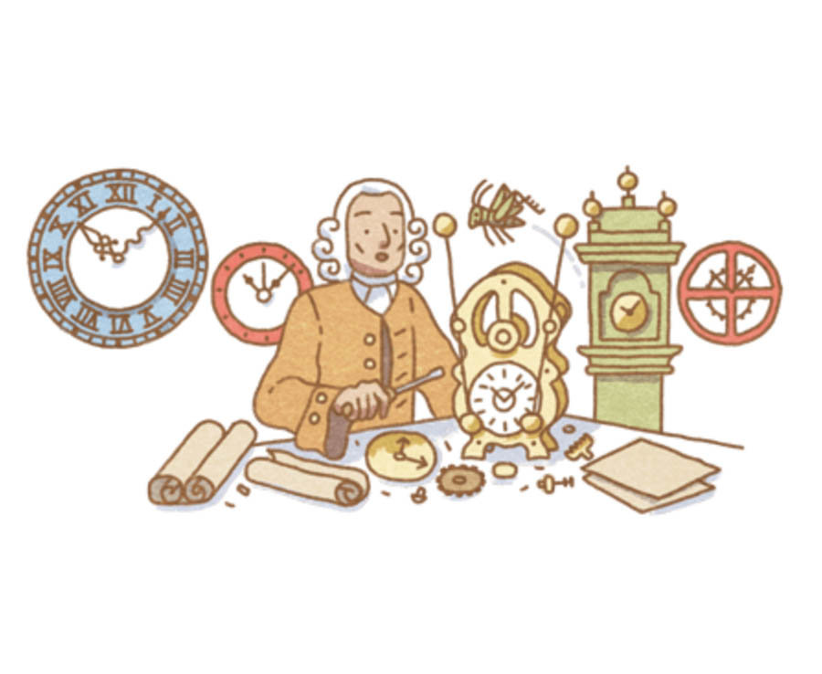 Google celebrates John Harrison's 325th birthday. He invented the marine chronometer, a long-sought-after device for solving the problem of calculating longitude while at sea