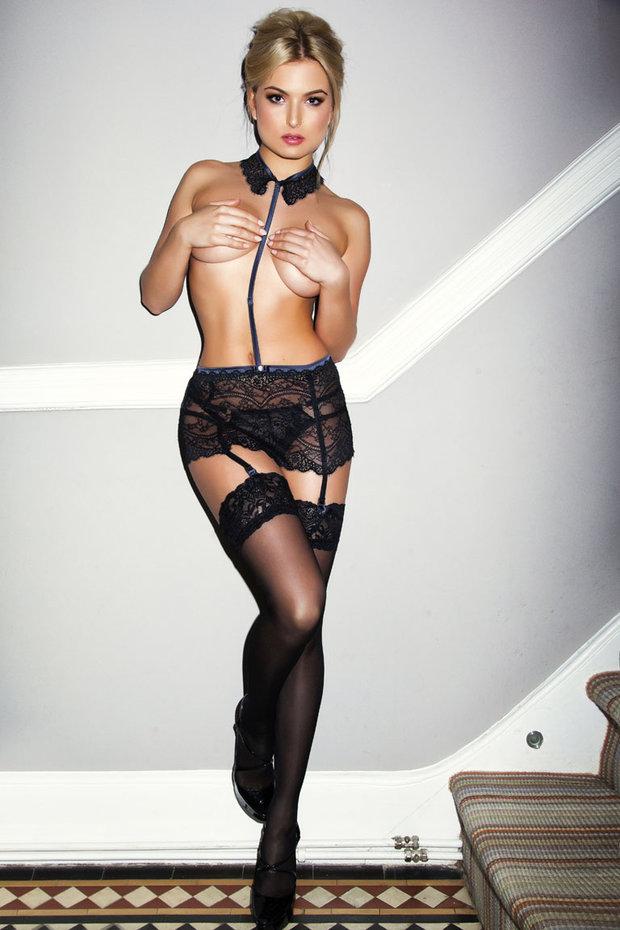 Zara Holland poses in lingerie