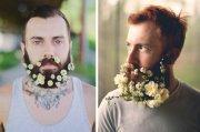 flower beards hipster men decorate