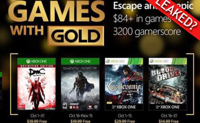 Xbox One Games With Gold October 2017 When Are Microsoft