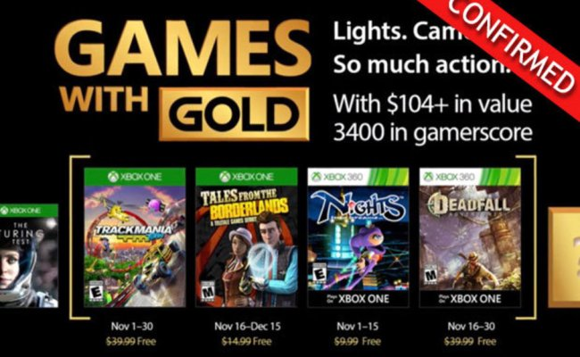 Games With Gold November 2017 Confirmed Free Xbox One And