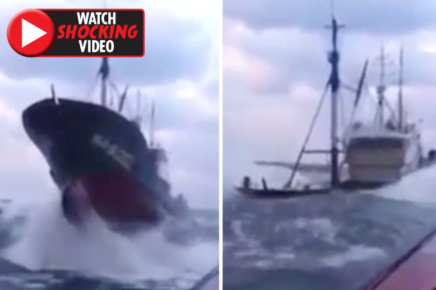 Huge ocean waves engulf ship