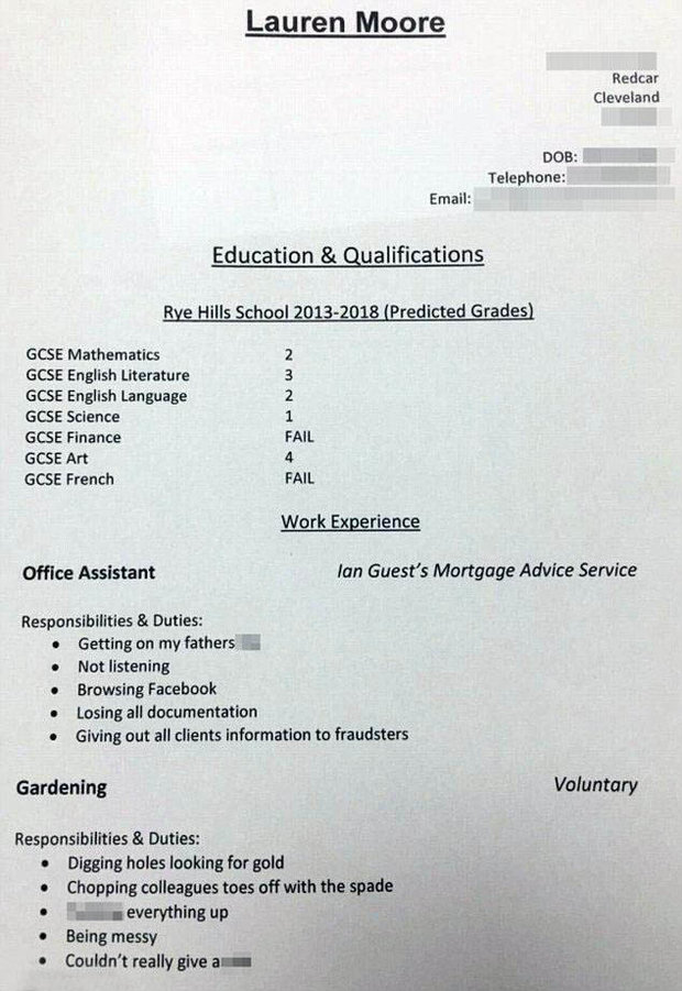 Dad pens CV for lazy daughter, 16, as she awaits GCSE results ...