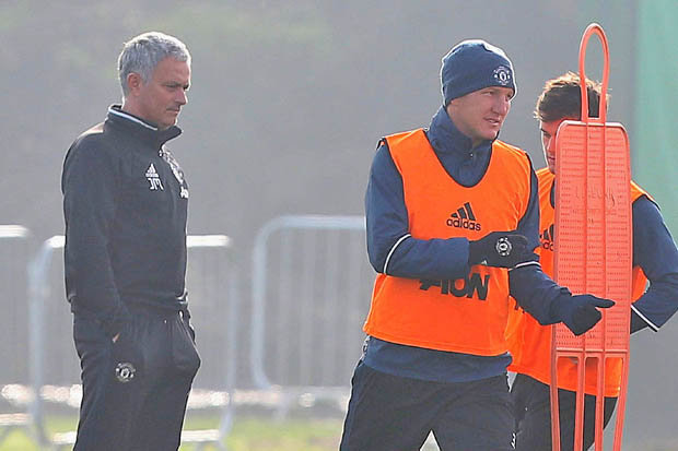 Image result for He's back: Schweinsteiger RETURNS to Man United training after Mourinho u-turn