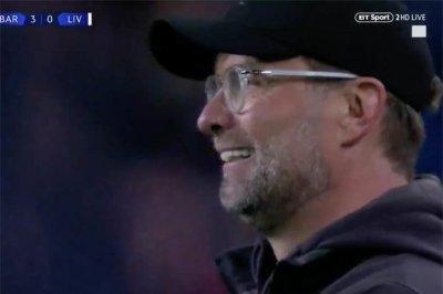 Image result for Jurgen Klopp smile after messi goal