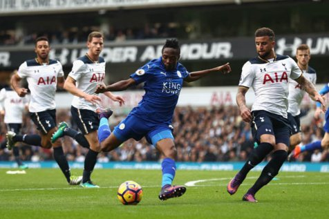 Image result for pic of ahmed musa scoring against tottenham