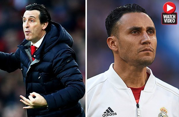 Unai Emery and Keylor Navas