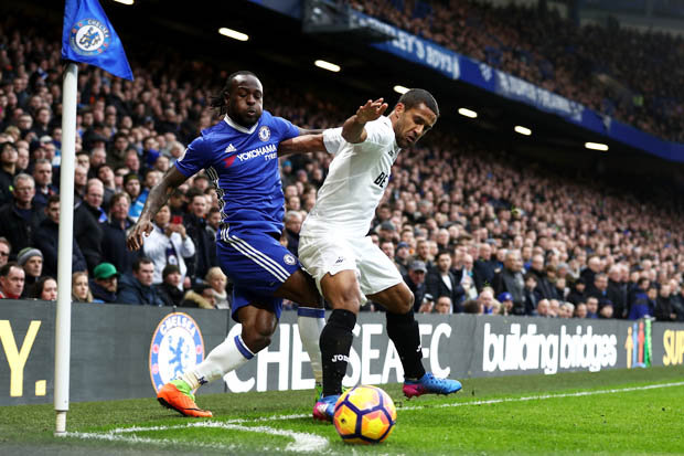 Chelsea ace Victor Moses in action against Swansea