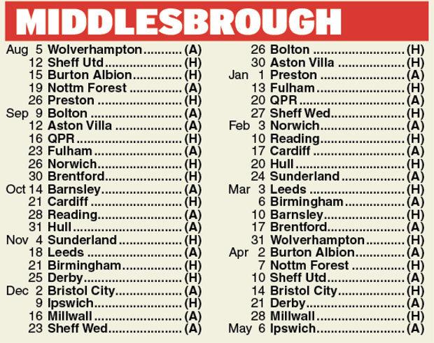 Middlesbrough fixtures Championship 201718 fixtures