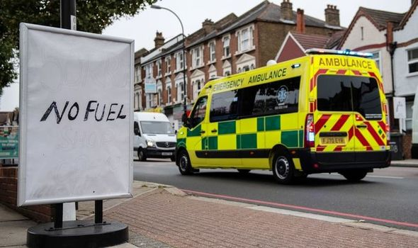 Ambulance crew left stuck for HOURS after 'people's selfishness' generated diesel shortage