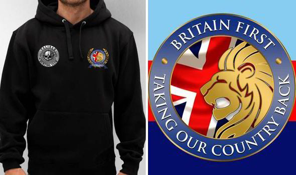 A model wearing a Britain First hoodie