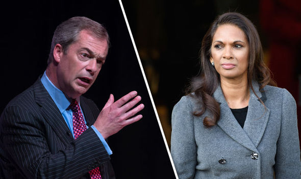 Farage has been critical of those trying to delay Brexit - including campaigner Gina Miller