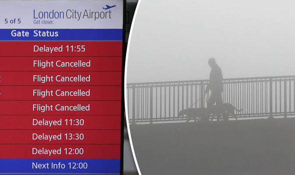 Cancelled flights from London City airport and fog