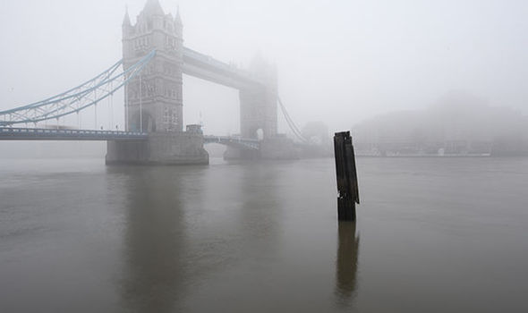 Freezing fog develops across the Thames