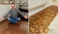 Man creates kitchen floor with ONE PENCE pennies