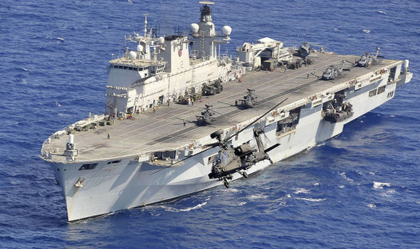 Graphic - HMS Ocean with inset of Queen visiting it