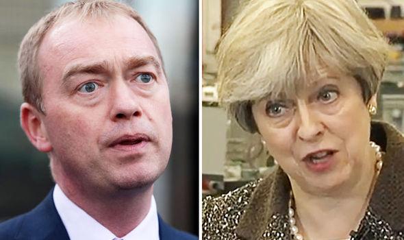 Tim Farron and Theresa May