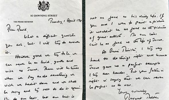 Touching letter to a schoolboy that shows Margaret