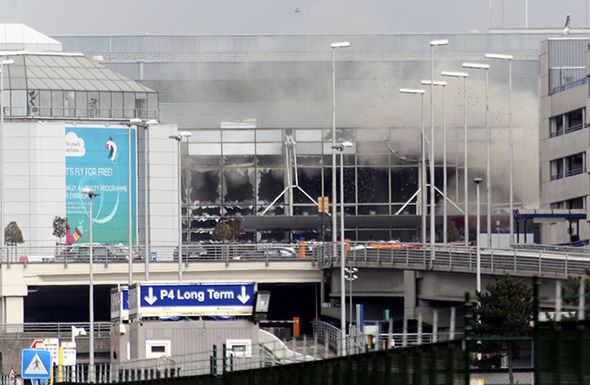 A plume of smoke covered Brussels airport