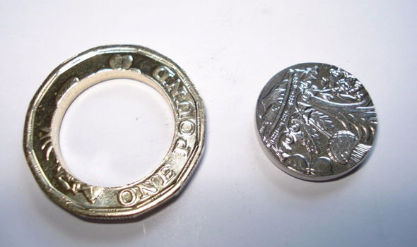 A 'polo-pound': A coin with the middle missing, sold on eBay for £13.50