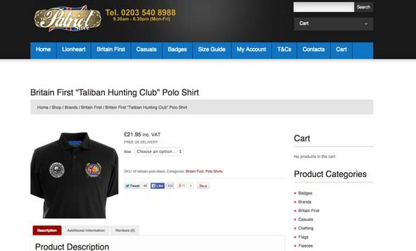 A Britain First hoodie being sold on a website