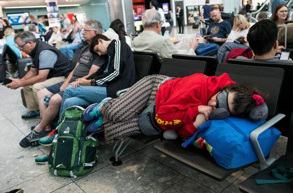 People sleeping at Heathrow