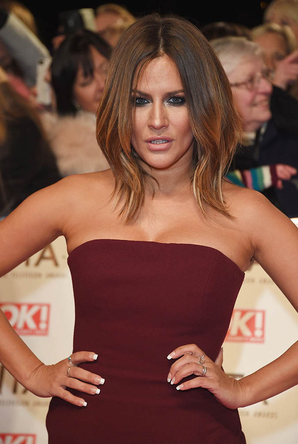 Caroline Flack in a red dress