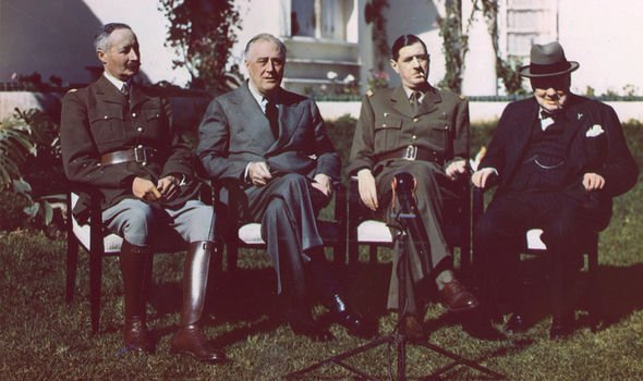 Charles de Gaulle with FDR and Churchill