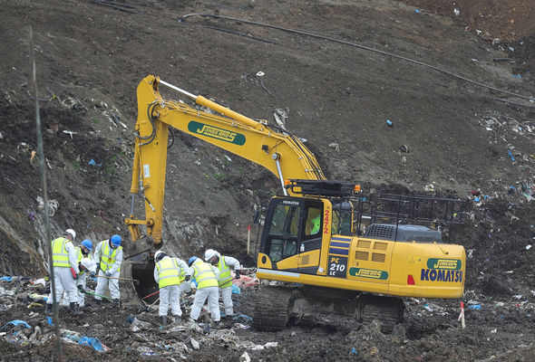 8,000 tonnes of bulk material have been moved to make the area safe to search