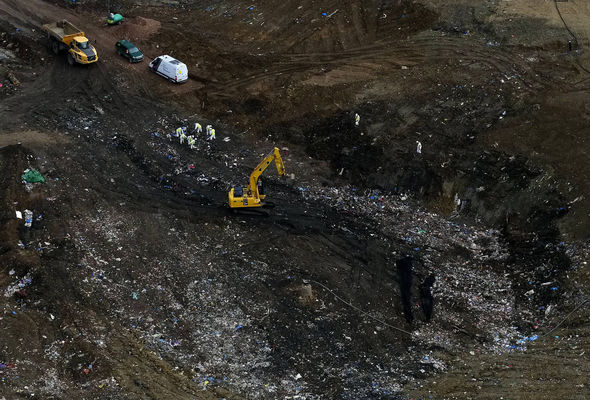It could take the team of eight trained search officers up to 10 weeks to sift through rubbish up to eight metres deep