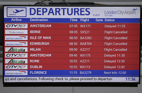 Delays at London City Airport on Monday