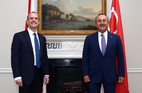 Dominic Raab and the Turk Melvut Cavusoglu