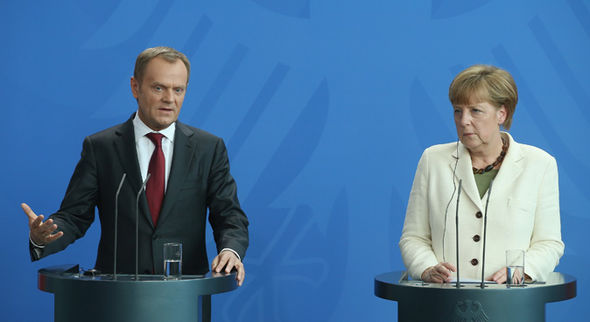 Donald Tusk with Angela Merkel