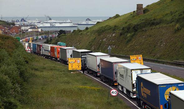 Lorries queue in valley above Dover