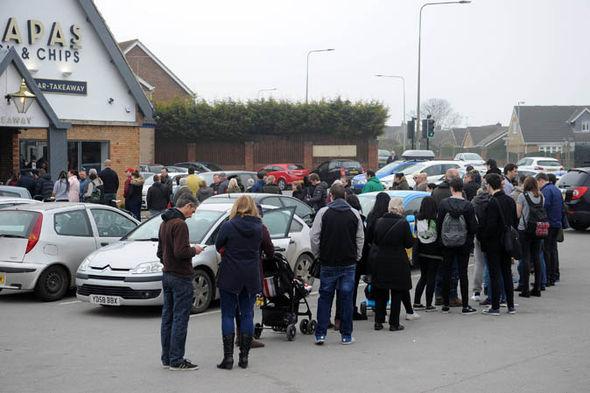 A queue in the chip shop car park