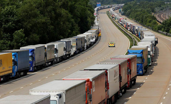 French ferry strike lorry queue