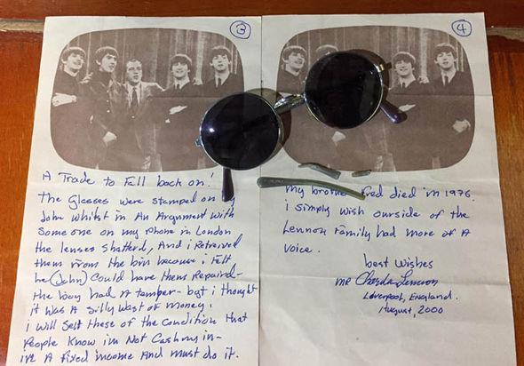 Letter and John Lennon's glasses