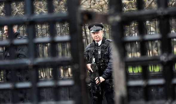 Police officer through gates