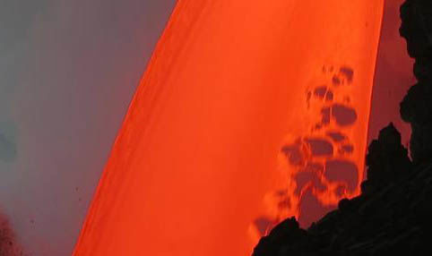 Lava pours into the Pacific Ocean