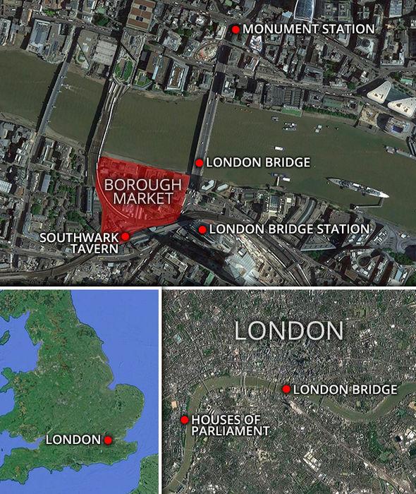 Map of London Bridge terror landmarks