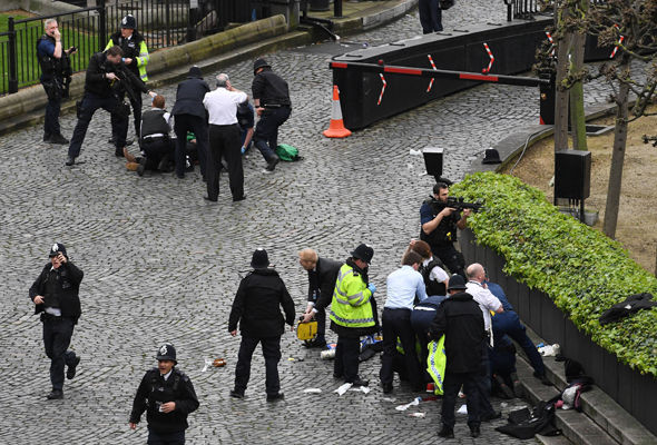 Armed police surround a man on the ground