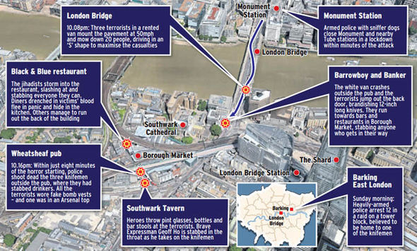 The terrorists went on a rampage on London Bridge and in Borough Market