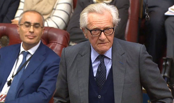 Lord Heseltine pictured in the Lords during the Brexit Bill debate