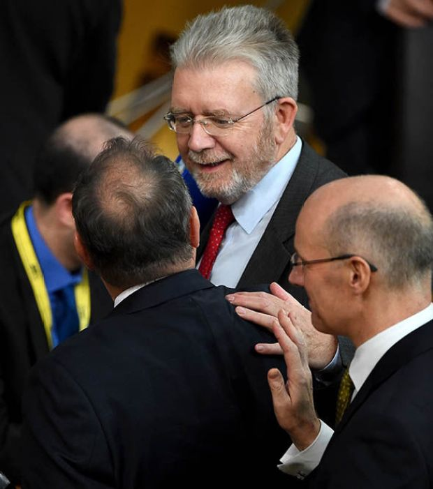 Mike Russell congratulates Alex Salmond