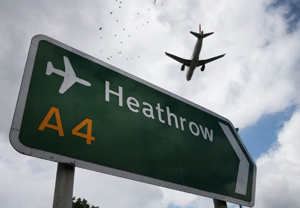 A plane flying over Heathrow