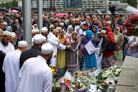 Mourners for the London Bridge terror attack victims