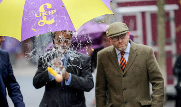 Paul Nuttall Nigel Farage egged