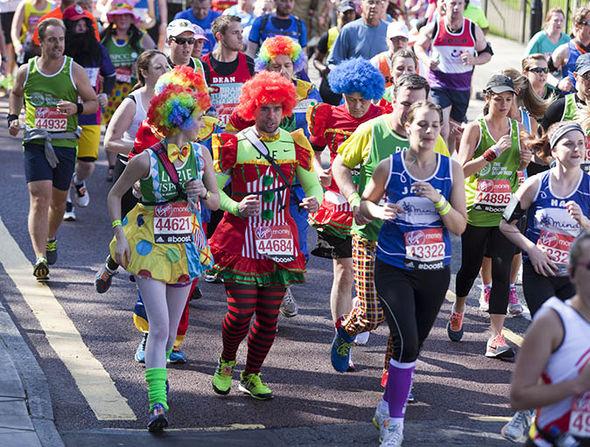 Marathon runners in funny costume