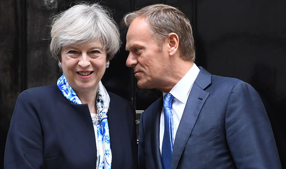 Theresa May and Donald Tusk