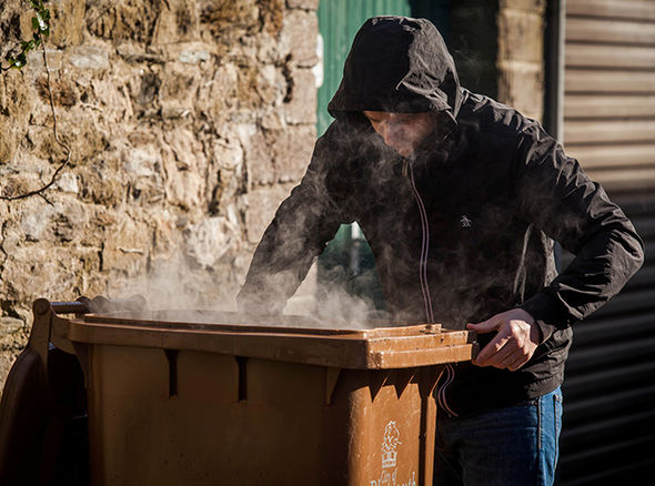 Man sniffs fumes